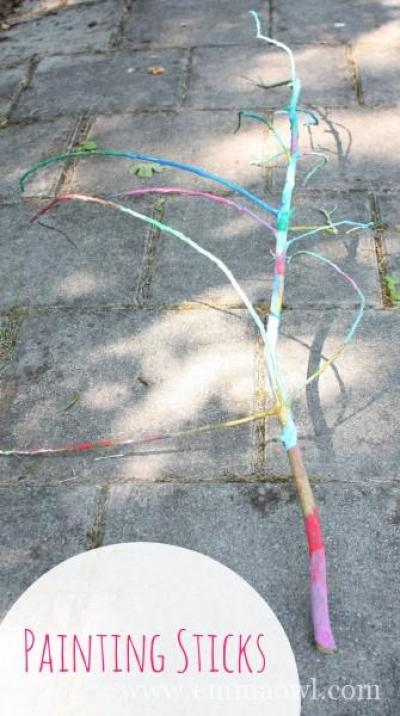 Painting sticks - great outdoor activity and craft