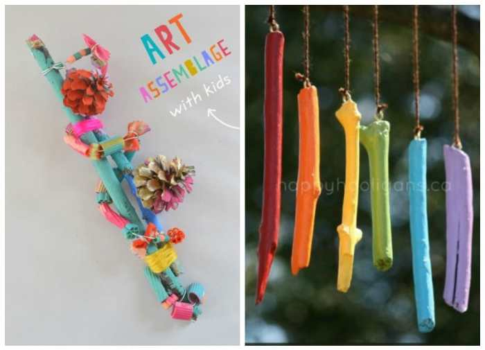 wind chimes, sticks and pinecones. Great Nature craft