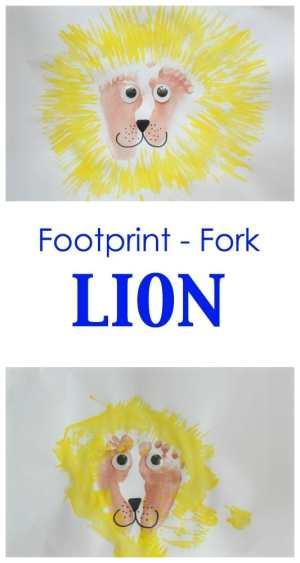 Fun Kids Craft Activity! Make a lion using footprints and a fork! Are you rrrrrrrr ready