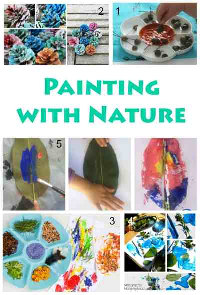 Great nature painting craft projects for children who love the outdoors and natural ingredients and tools