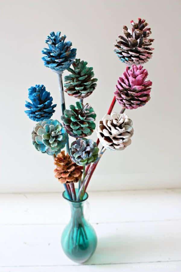 Beautiful Painted Pine Cone Flowers Kids Art
