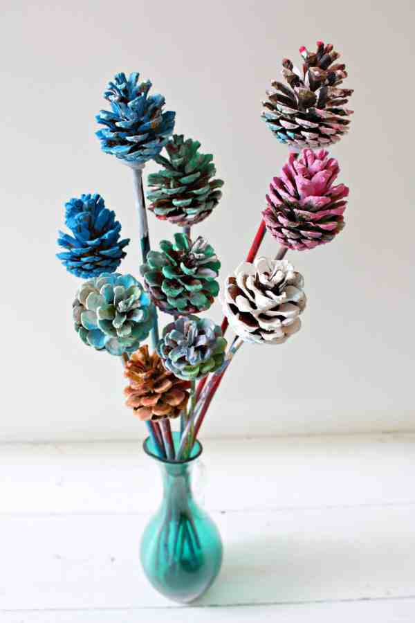 Painted Pine Cone Flowers
