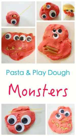 Pretend Play - and Make - Pasta + Googly Eyes + Play Dough. Makes wonderfully cute - and scary - MONSTERS! Great Halloween Idea.