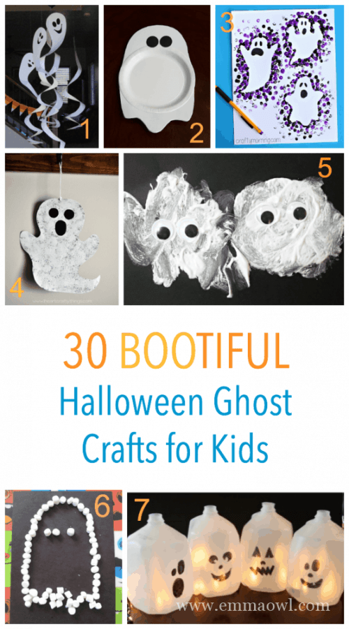 30 BOOTIFUL Ghost Crafts for Halloween. Kids can make these and they will really add some friendly spookyness to your halloween house!