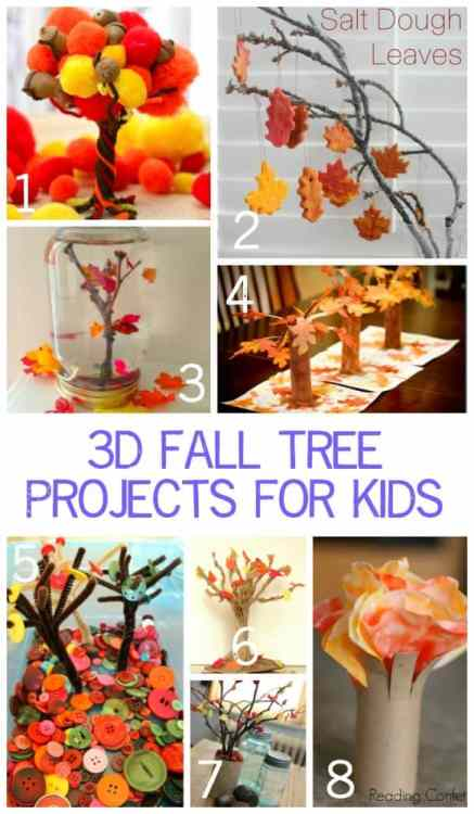 3D Fall Tree Projects for Kids. Adding space and dimension to art projects