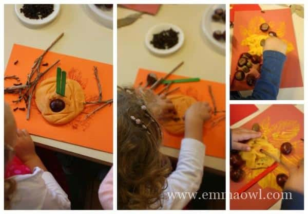 Children at the fall sensory table