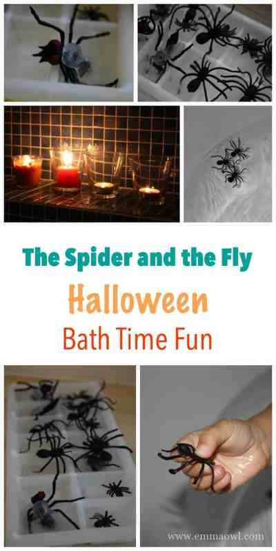 Halloween Bath Time Fun! The Spider and the Fly is such an easy play activity to set up for a spooky bath of fun!