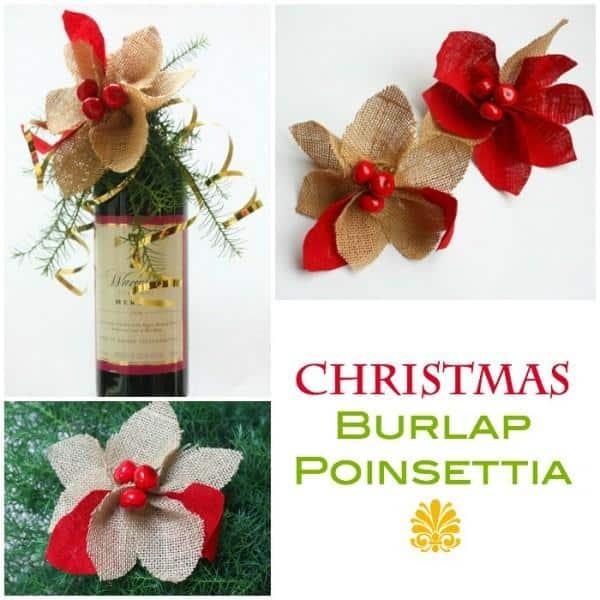 Christmas Burlap and Linen Poinsettia