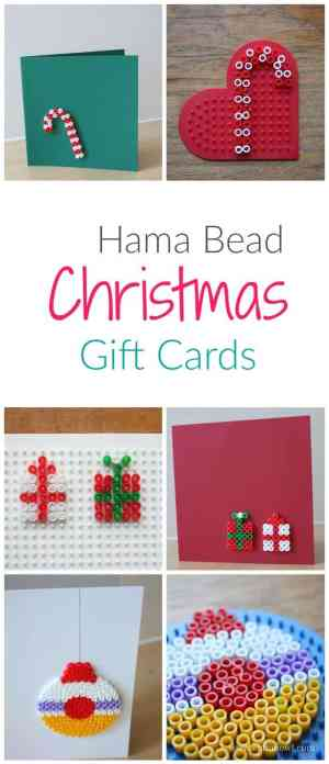 Easy to make DiY Christmas Greeting Cards - Great Hama Bead Craft Project for Kids and Adults
