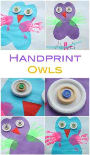 Kids Craft Handprint Owls. These make the cutest little craft projects - made with two hearts!