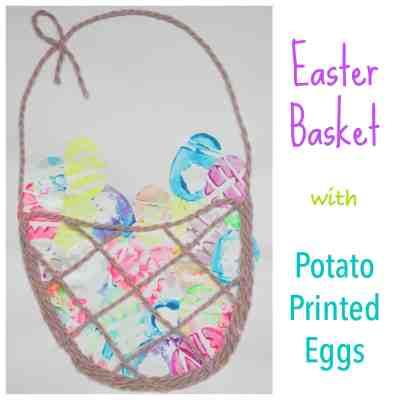 Easter Basket with Potato Printed Eggs