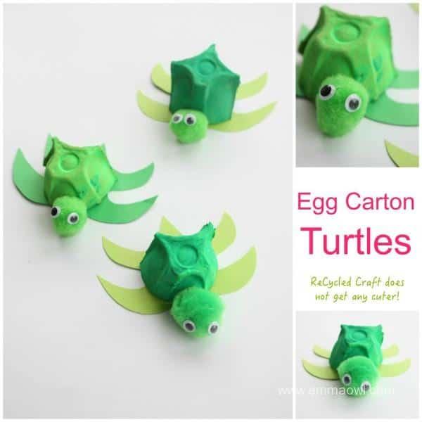Egg Carton Turtle Recycled Kids Craft Emma Owl