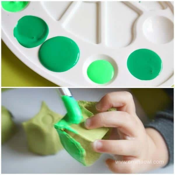 Making egg carton turtles