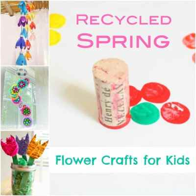 ReCycled Spring flower crafts for kids
