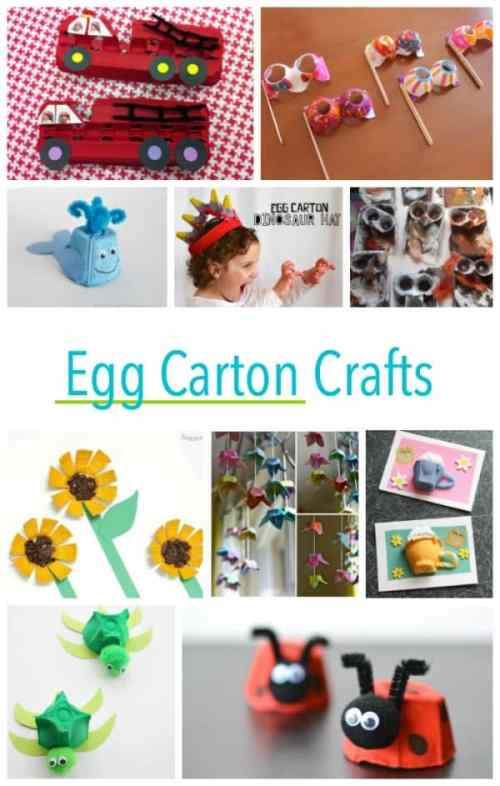 Recycled Egg Carton Crafts for Kids - including a firetruck, theatre glasses and tea cups...