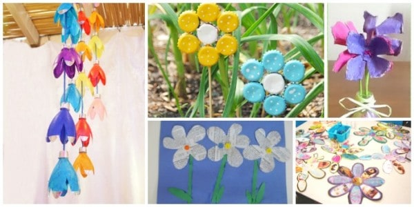 flower craft from recycled material