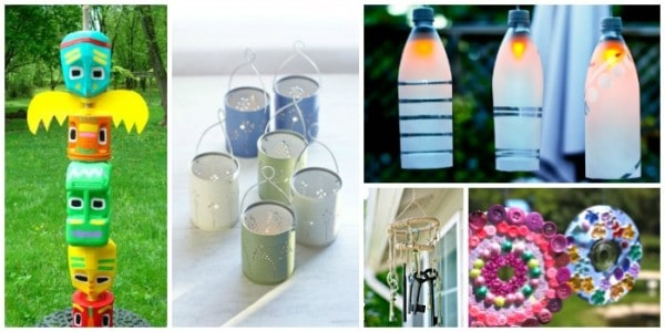 Garden crafts made with recycled materials