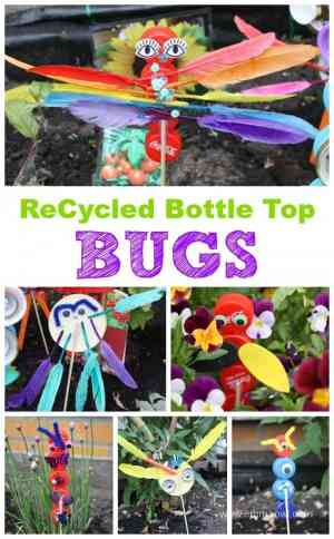 Make these awesome little bugs using bottle tops and jar lids! The perfect summer kids craft for your garden