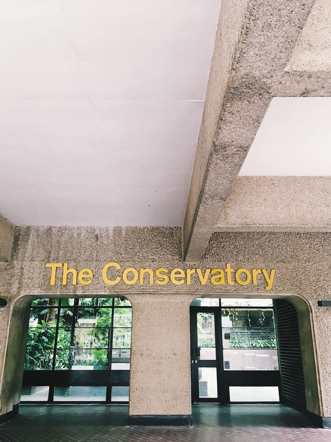 The Barbican Conservatory sign and entrance