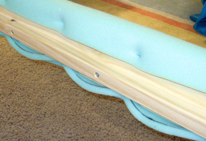 Foam batting on upholstered bed sideboards