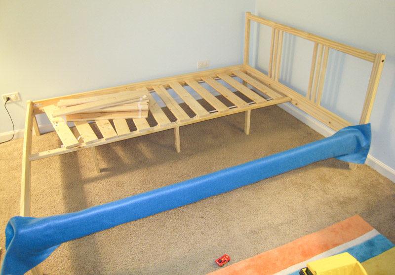 How to Reupholster Bed Frame Ikea Fjellse Tutorial progress