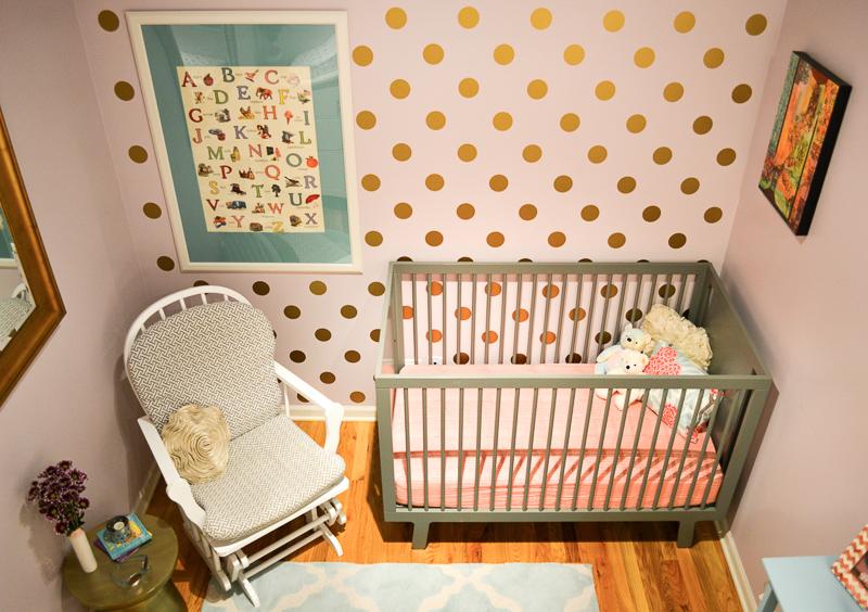 Loft baby girl nursery design reveal