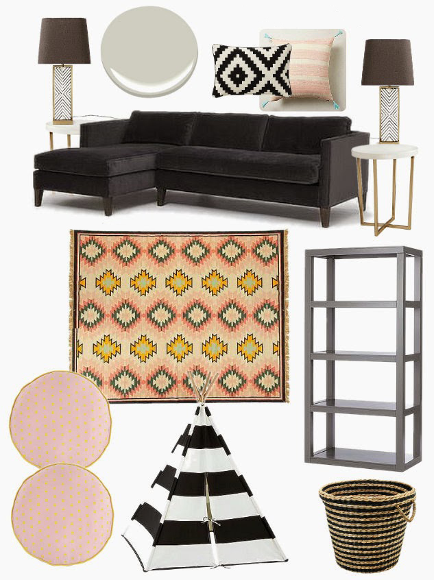 Blush Pink & Black Family Room Play Room Design Mood Board