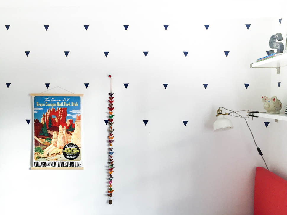 One Room Challenge Triangle Decals in Shared Kids Bedroom