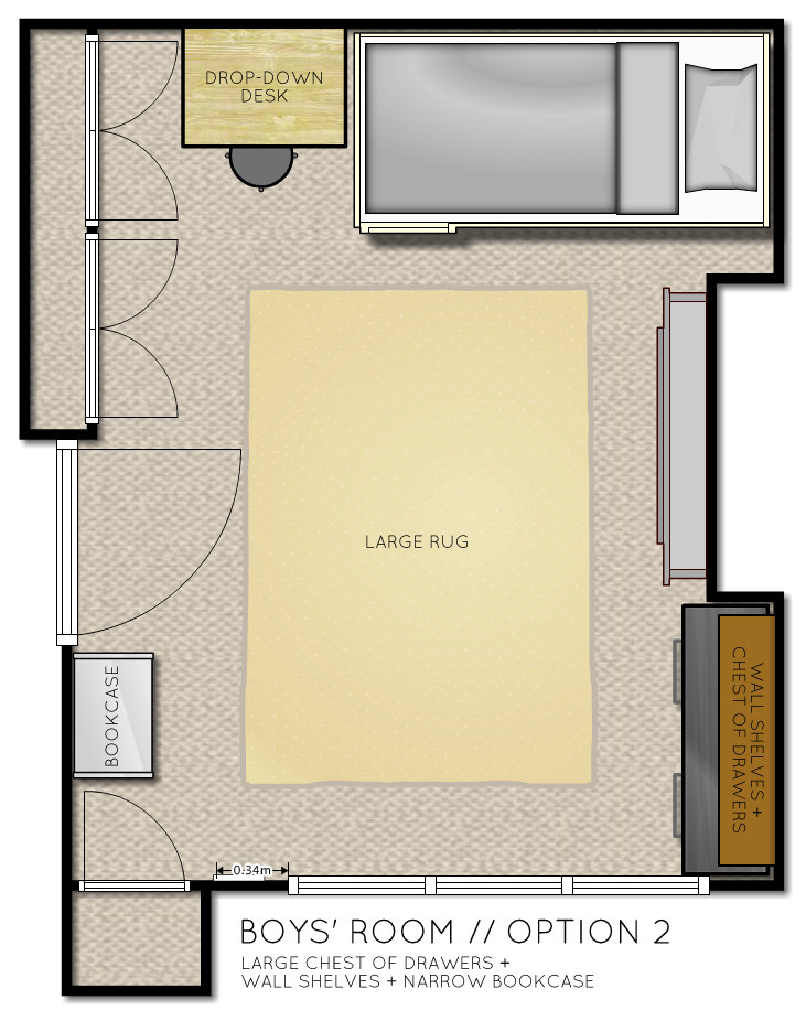 Kids Room Floor Plan with bunk beds Option 2