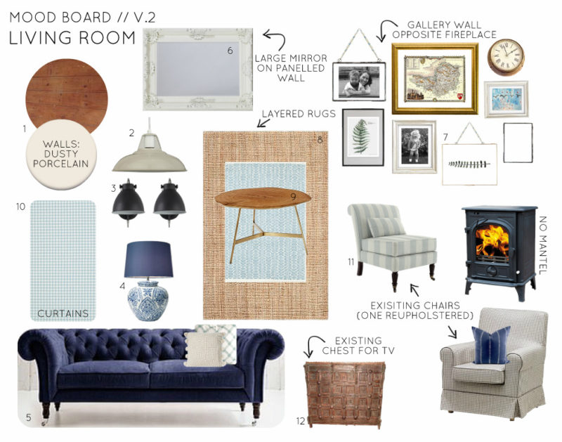 Mood Board Country Cottage Living Room - Option 2