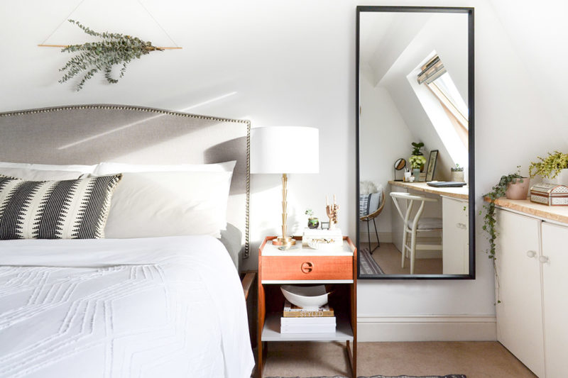 Neutral Layered Master Bedroom - Tall Mirror, Bed, Eucalyptus Wall Hanging & Midcentury Nightstand