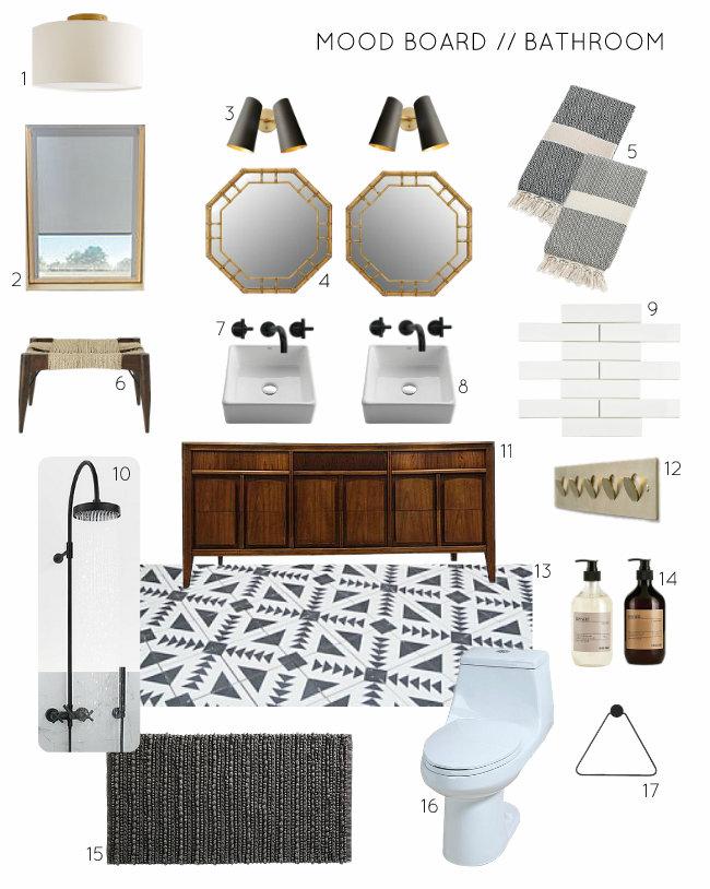 Mood Board - Black White Wood + Brass Bathroom Design