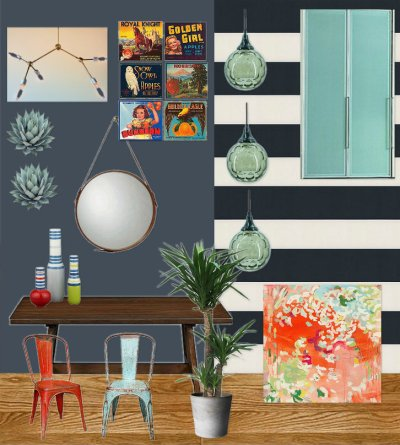 Mood Board - Modern Vintage Hallway & Dining Area Design