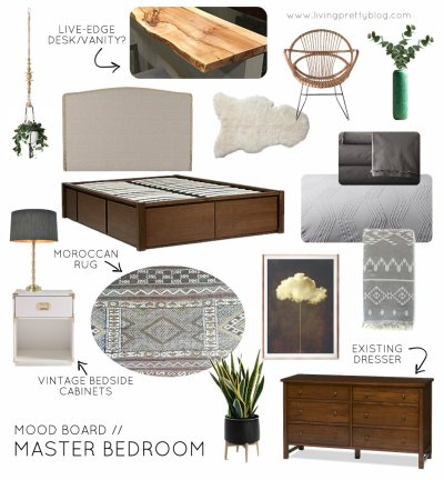 One Room Challenge Moodboard - Neutral Eclectic Master Bedroom