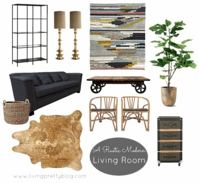 Mood Board - Rustic Modern Living Room feat Shackletons Sofa