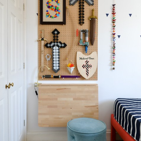Space Saving Homework Station Pegboard Storage