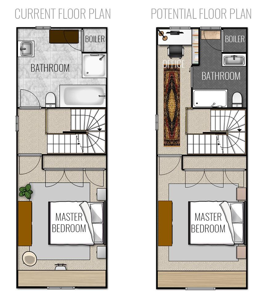 Current vs Potential Master Suite Floor Plan 3rd Floor