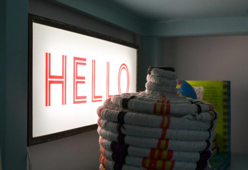"""Image of """"Hello"""" Litecraft lightbox turned on"""