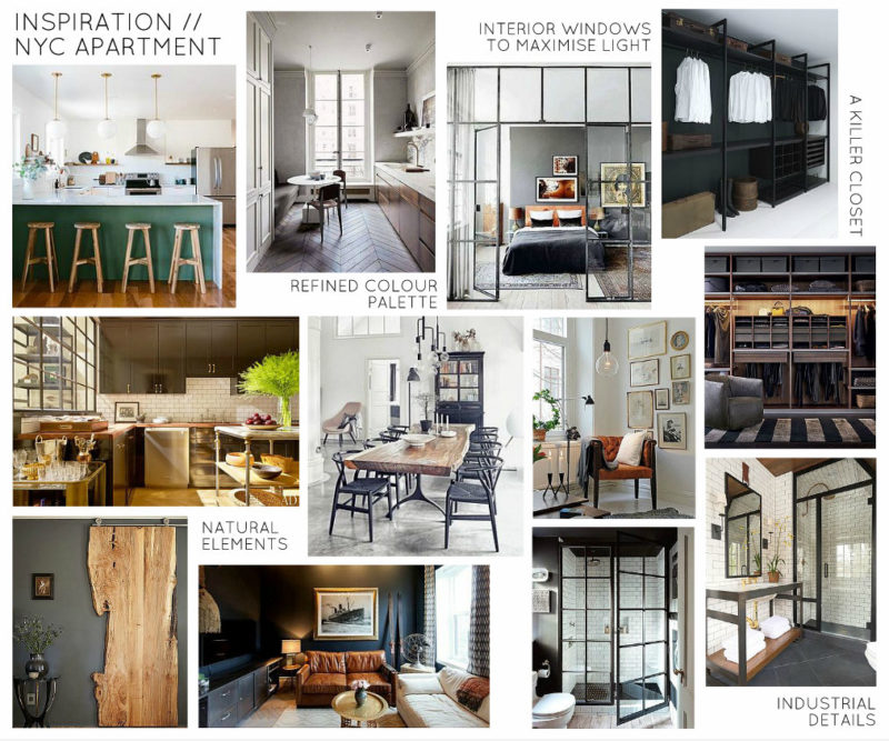 Indsutrial Organic Masculine NYC Apartment Inspiration Board