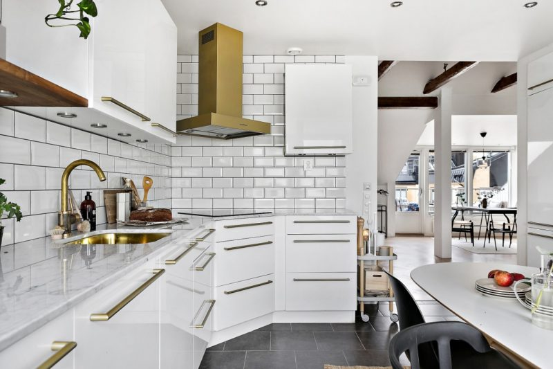 Neutral Scandinavian Apartment Stockholm Kitchen