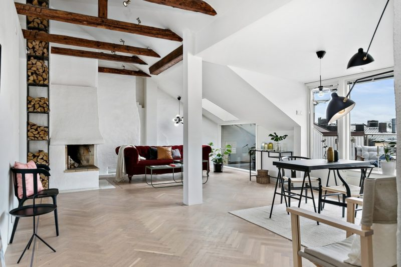 Neutral Scandinavian Apartment Stockholm Living Area