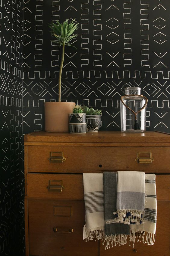 Mudcloth Wallpaper by Amber Interiors