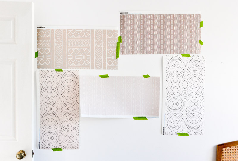 Neutral tribal & mudcloth removable wallpaper samples from Spoonflower