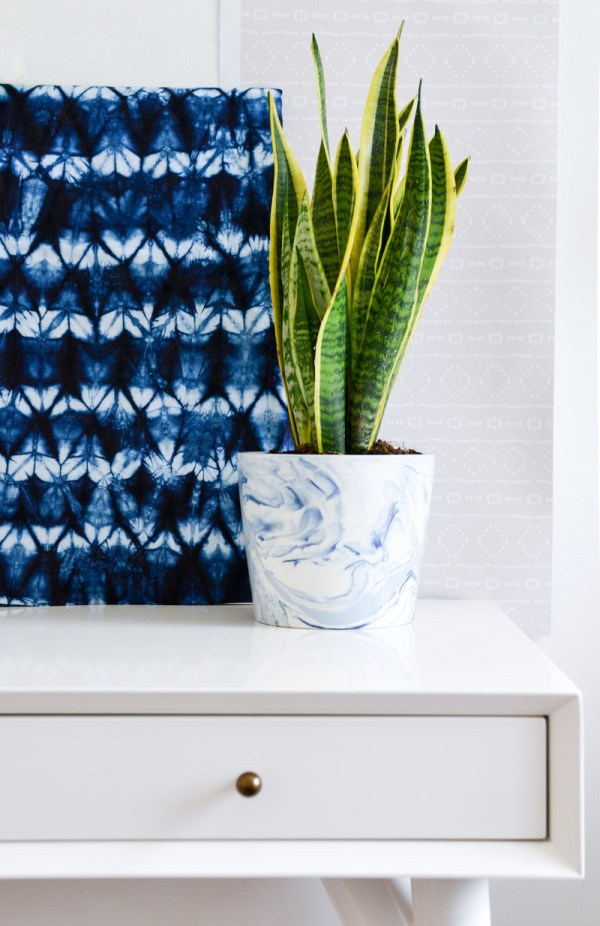 One Room Challenge Week 4 - Desk, Shibori Fabric, Snake Plant & Mudcloth Removable Wallpaper