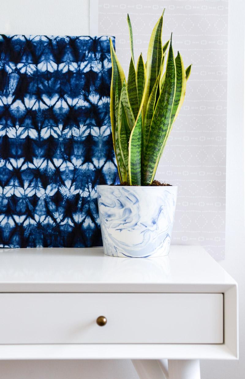 One Room Challenge Week 4 - Desk, Shibori Fabric, Snake Plant & Mudcloth Removable Wallpaper