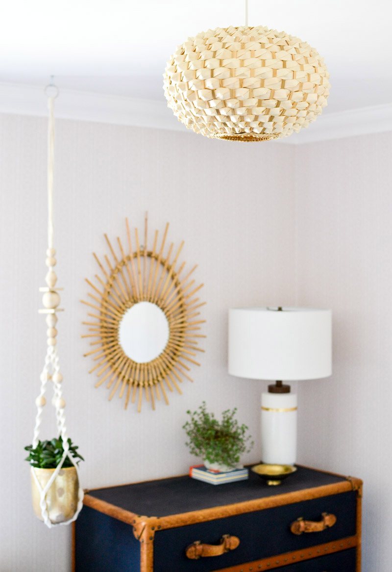 Global boho kids bedroom makeover - boho bamboo mirror