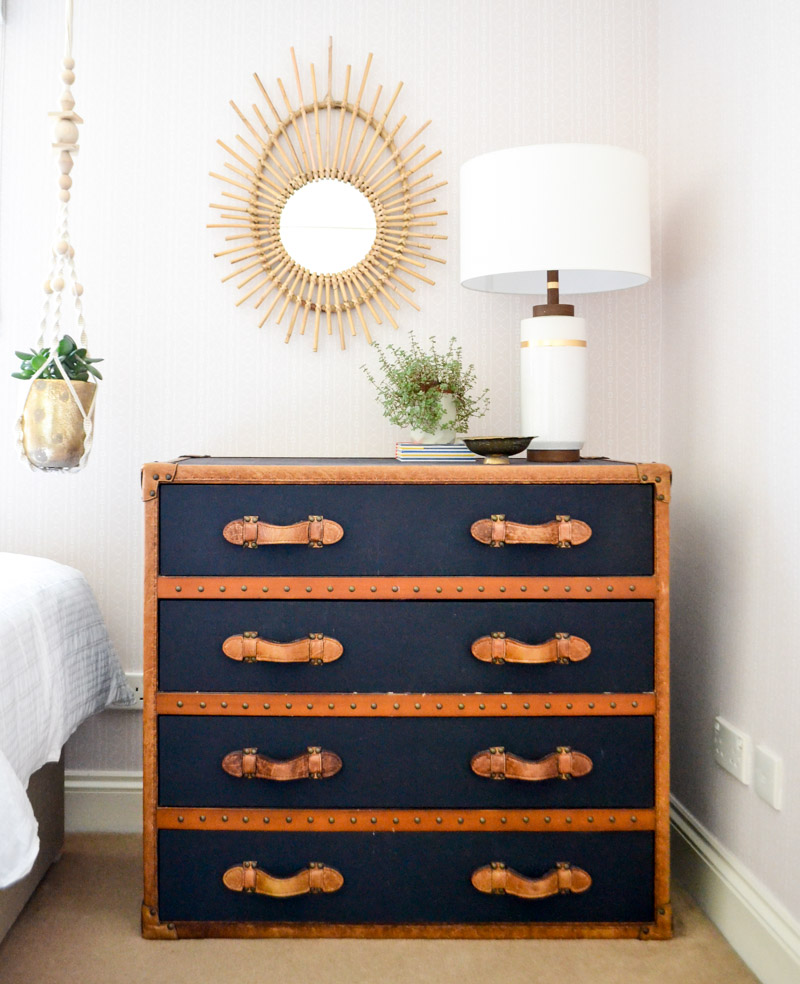 Global boho kids bedroom makeover - industrial leather chest
