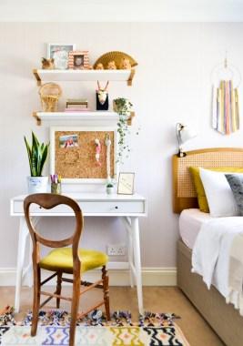 Global boho kids room makeover - midcentury desk + storage bed