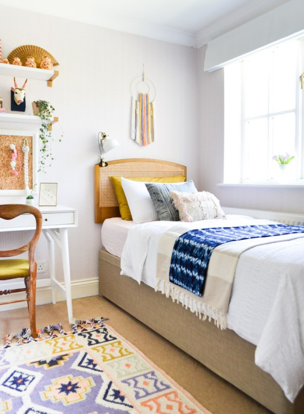 Global boho kids bedroom makeover - ottoman storage bed