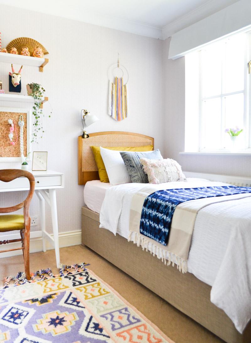 Global boho kids room makeover - ottoman storage bed